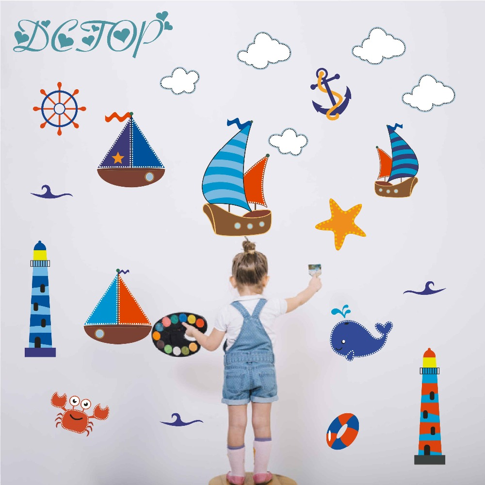 Cartoon Ocean Lighthouse Graphic Wall Sticker For Kids Rooms Home Dector