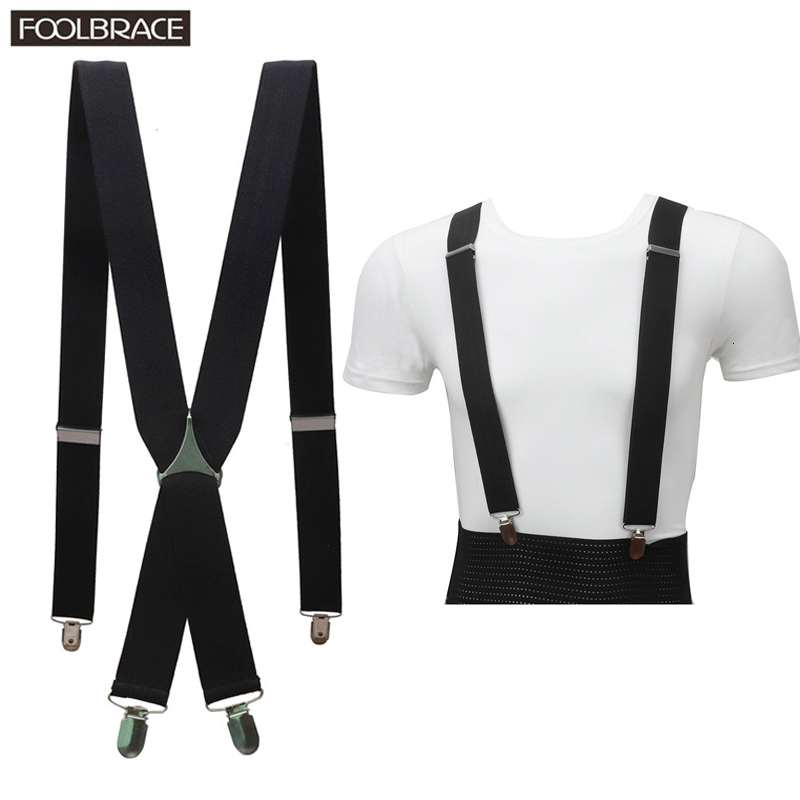 Solid Color Unisex Adult Suspenders Men 3.5cm Width Adjustable Elastic 4 Clips X Back Women Trousers Braces