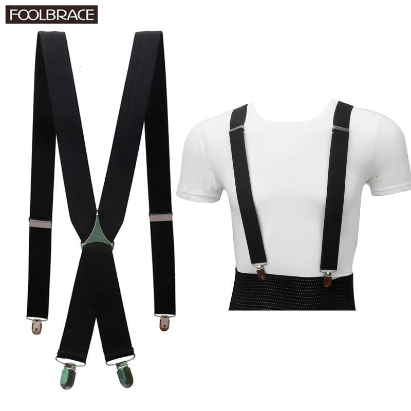 Solid Color Unisex Adult Suspenders Men 3.5cm Width Adjustable Elastic 4 Clips X Back Women Trousers Braces