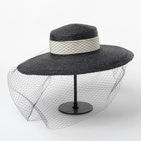 Retro Net Gauze Big Brim Flat Top Wheat Straw Hat Stage Catwalk Photo Concave Straw Hat sun cap women beach sun shade