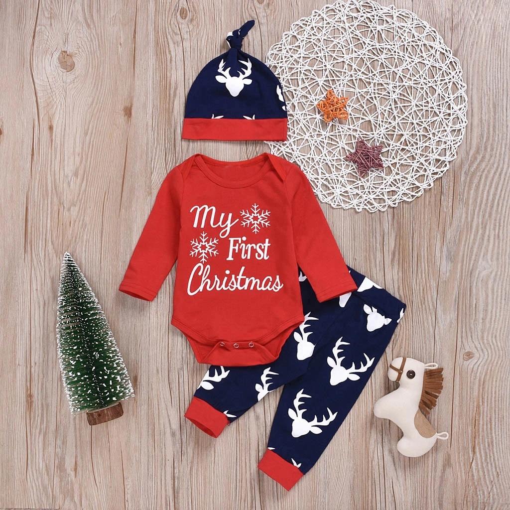 4Pcs Newborn Baby Girls Boys Long Sleeve Christmas Outfit Cartoon Flower Deer Print Outfits Set Romper+Pant+Hat+Headband