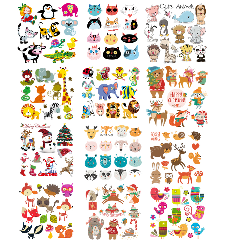 Cute Animal Patches For Baby Clothes Combination Iron On Patches Thermo Stickers Heat Transfers Applique Kid Clothes Christmas