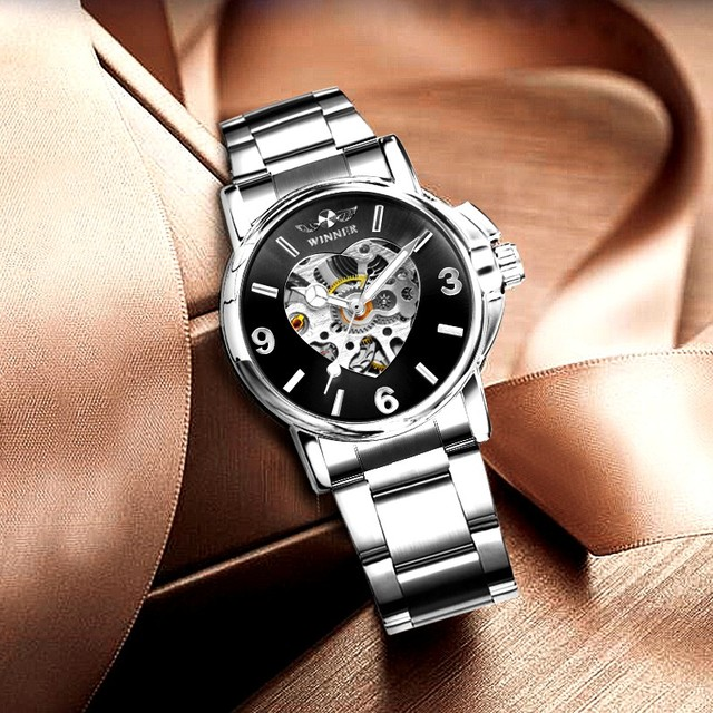WINNER Watches Women Fashion Watch 2020 Automatic Mechanical Golden Heart Skeleton Dial Stainless Steel Band Elegant Lady Watch 2