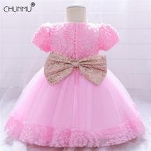 Lace Bowknot Newborn Baptism Dress For Baby Girls First Birthday Party Wedding Dress Toddler Girl Christening Vestidos