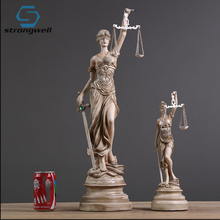 Strongwell Greek Order Goddess Themis Statue Sculpture American Retro Craft Christmas Gift Home Decoration Accessories