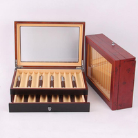 Black/ Burgundy Wooden Pen Display Storage Case, 23 Pens Capacity, Fountain Pen Collector Organizer Box with Transparent Window