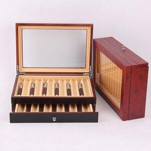 Image 1 - Estuche de almacenamiento de exhibición de bolígrafos de madera negro/burdeos, capacidad de 23 bolígrafos, organizador para coleccionista de pluma estilográfica caja con ventana transparente
