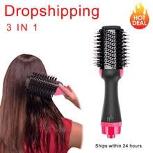 Um passo secador de cabelo & volumizer ar quente estilo profissional 3 em 1 escova golpe em linha reta e cachos salão de beleza escova de cabelo elétrico