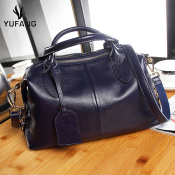 YUFANG Genuine Leather Women's Handbag Large Capacity Female Shoulder Bag Big Daily Shopping Tote Natural Cowhide Messenger Bag