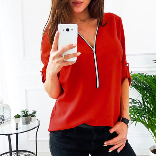 JODIMITTY Zipper Short Sleeve Women Shirts Sexy V Neck Solid Women Top Blouses Casual Tee Shirt Tops Female Clothes Plus Size 4