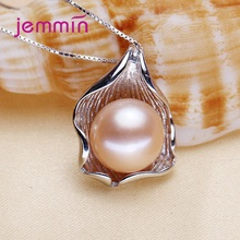 Luxury White Purple Pink Big Freshwater Pearl Pendant Necklaces For Women 925 Sterling Silver Choker Necklaces Shinning Jewelry цена и фото
