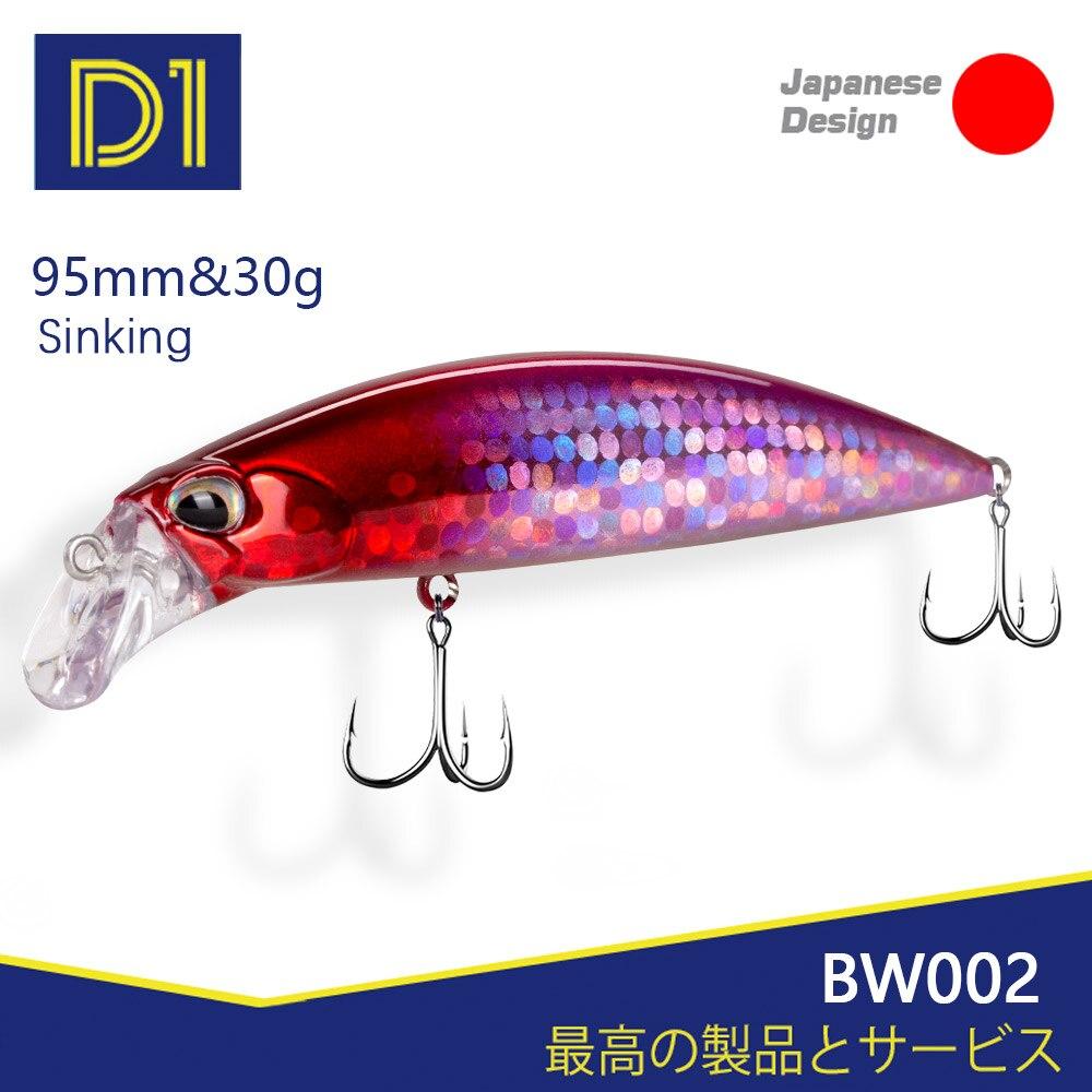 D1 peso pesado minnow pesca isca afundando wobblers 95mm 30g 3d olhos de alta qualidade artificial duro isca inverno enfrentar 2020 bw002