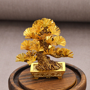 Image 5 - Feng shui Decor Lucky Wealth Ornament 24k Gold Foil Pine Tree Gold Crafts Office Desktop Lucky Ornaments Home Decoration Gifts