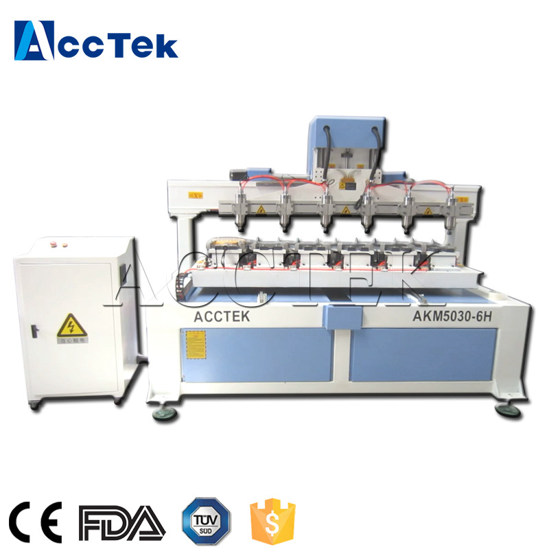 AccTek High Quality 6 Spindle Cnc Router AKM5030-6H For Tennis Racket Carving