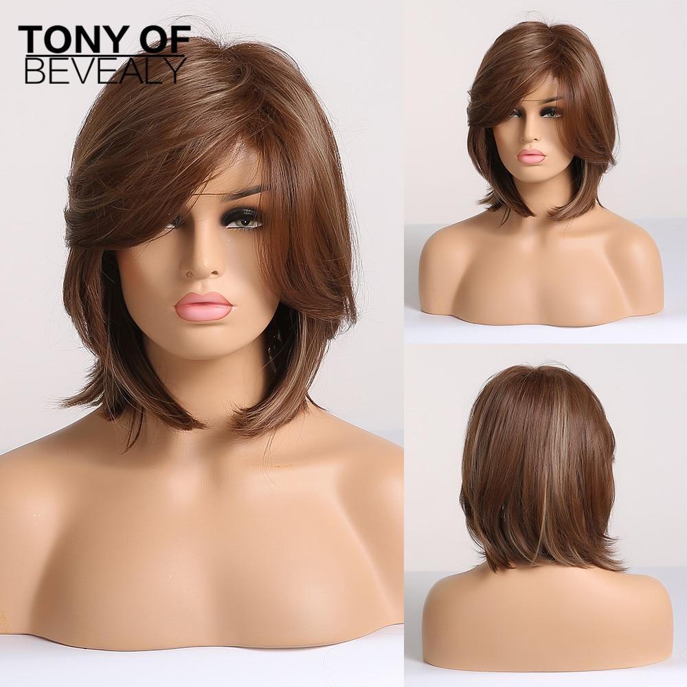 Peruca curta em camadas sintética, perucas curtas