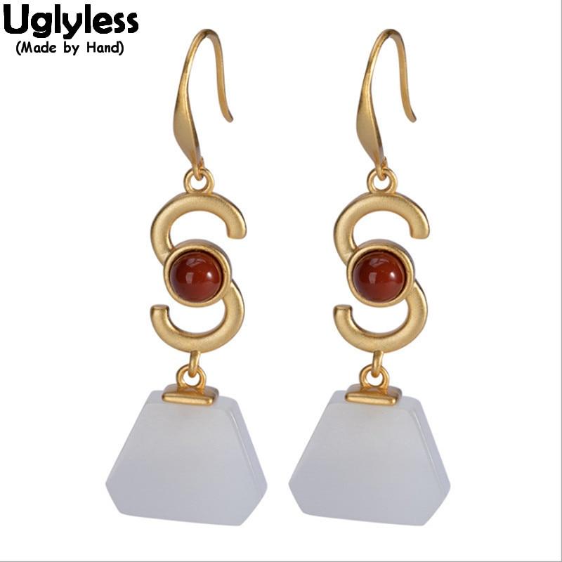 Boucles d'oreilles sans Uglyless Vogue S lettres pour femmes Jade naturel Triangle boucles d'oreilles pierres précieuses or 925 argent Agate Brincos bijou de mode