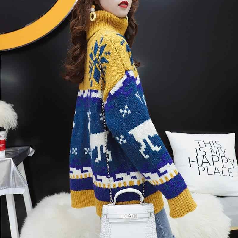 2019 가을, 겨울 새 스웨터 여학생 한국 느슨한 하이넥 헤지 크리스마스 눈송이 엘크 게으른 바람 짙어지면서