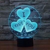 Женский подарок на день Святого Валентина I LOVE YOU Красочная 3D Голограмма любовь сердце воздушный шар лампа USB акриловые огни подарок девушке