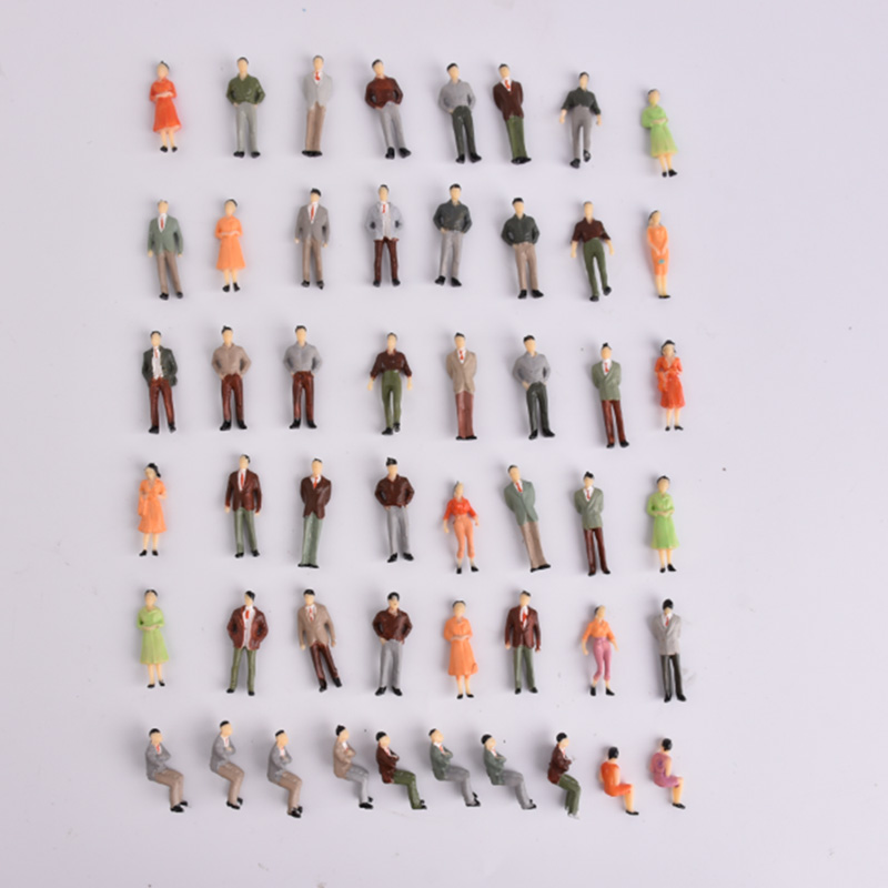 100 Mixed Color Pose Model People Figures Passenegers Train Scenery O 1:50 Scale