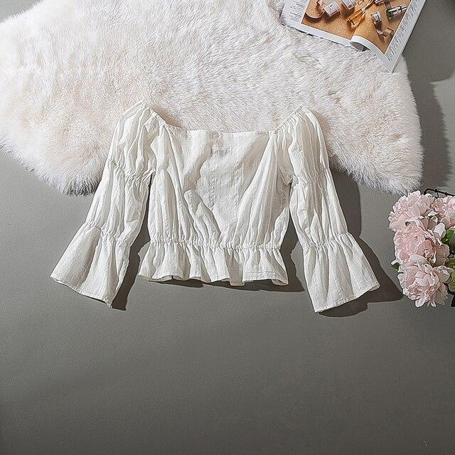 Cthink Spring 2020 New Slash Neck White Short Blouse Women Stylish Flare Sleeve Slim Soft Cotton Busas Good Summer Women's Dress 2