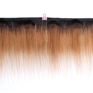 Image 2 - MOGUL HAIR 50g/pc 4 Bundle with Closure Honey Blonde Bundles With Closure T 1B 27 Brazilian Straight Ombre Non Remy Human Hair