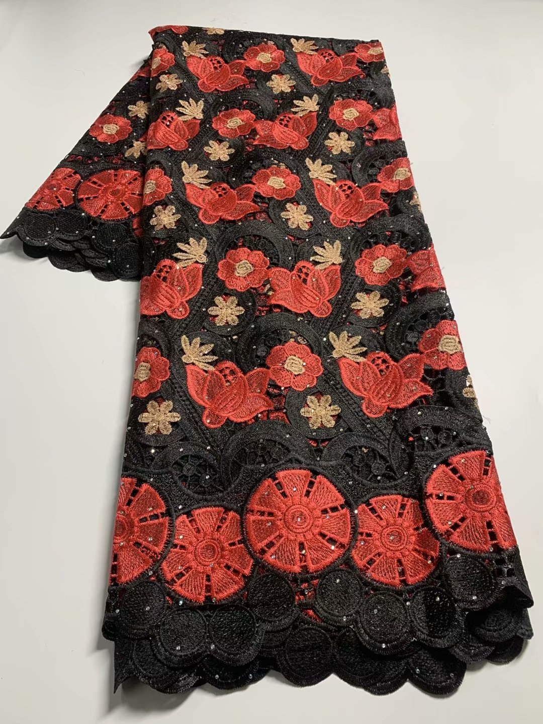 TG26 Good looking embroidered guipure lace fabric,African water soluble cord lace for fashion dress!
