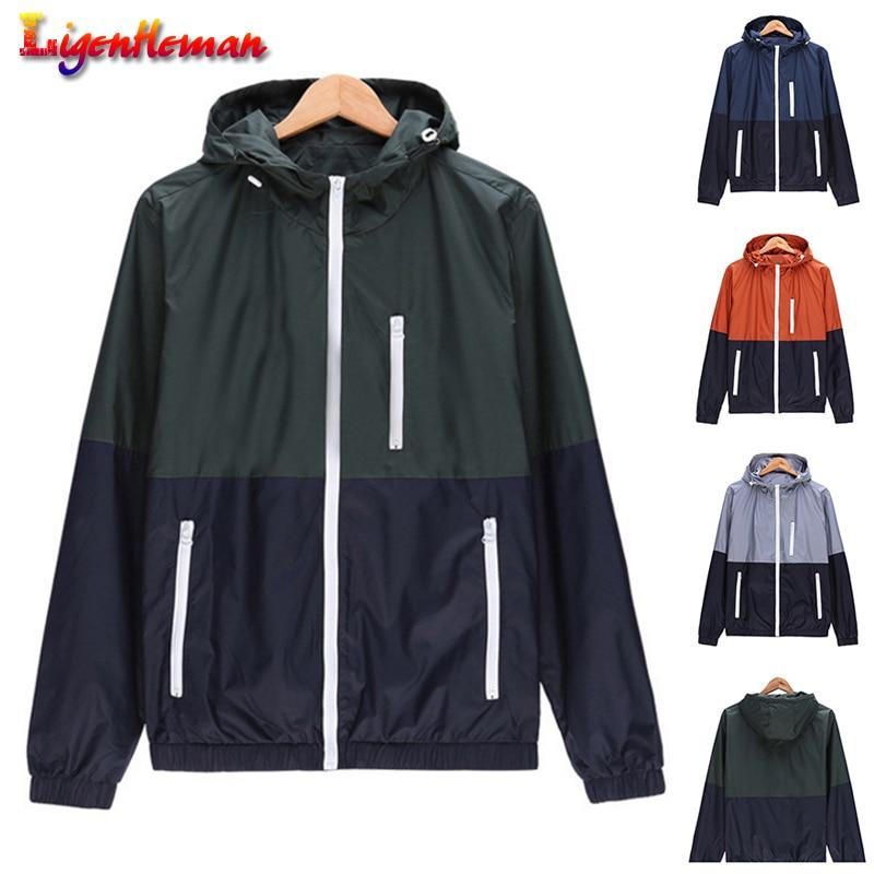 Men Casual Lightweight Windbreaker Jacket Couple Coat Spring Autumn New Men's Female Hooded Sunscreen Coat Zipper Fashion Jacket