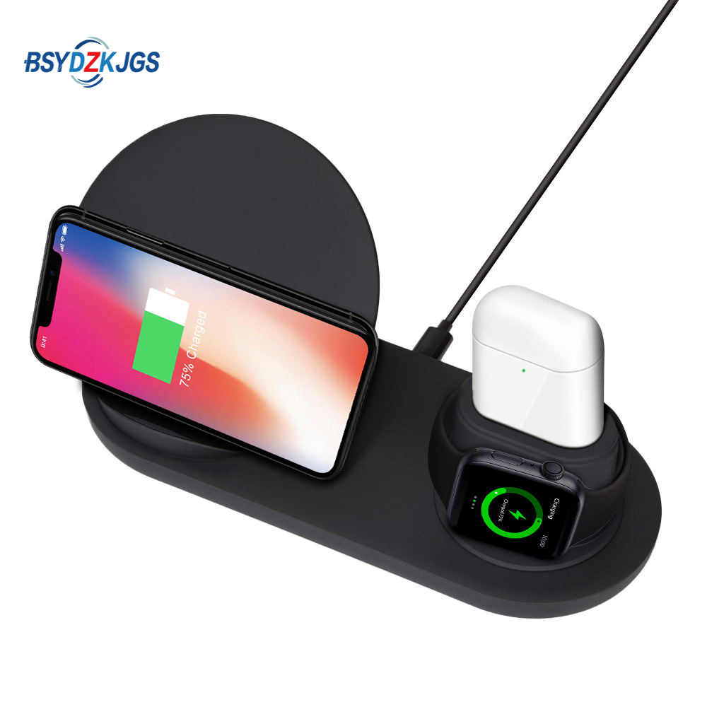 Wireless Charger Stand for iPhone AirPods Apple Watch, Charge Dock Station Charger for Apple Watch Series 4/3/2/1 iPhone XR XS M