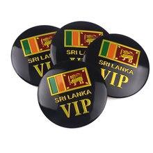 Car 4pcs Sri Lanka flag VIP Emblem Tire Wheel Center Hub Cap Badge Stickers Decals