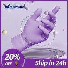 Disposable Nitrile Gloves 100Pcs Purple Wostar Waterproof Non-Slip Oil Resistant Household Kitchen Dishwash Work NitrileGloves