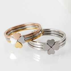 3Pcs/Set Fashion Design Multilayer Rings Heart-shaped Four leaf clover combination Couples Ring pierscionki damskie Jewelry Gift