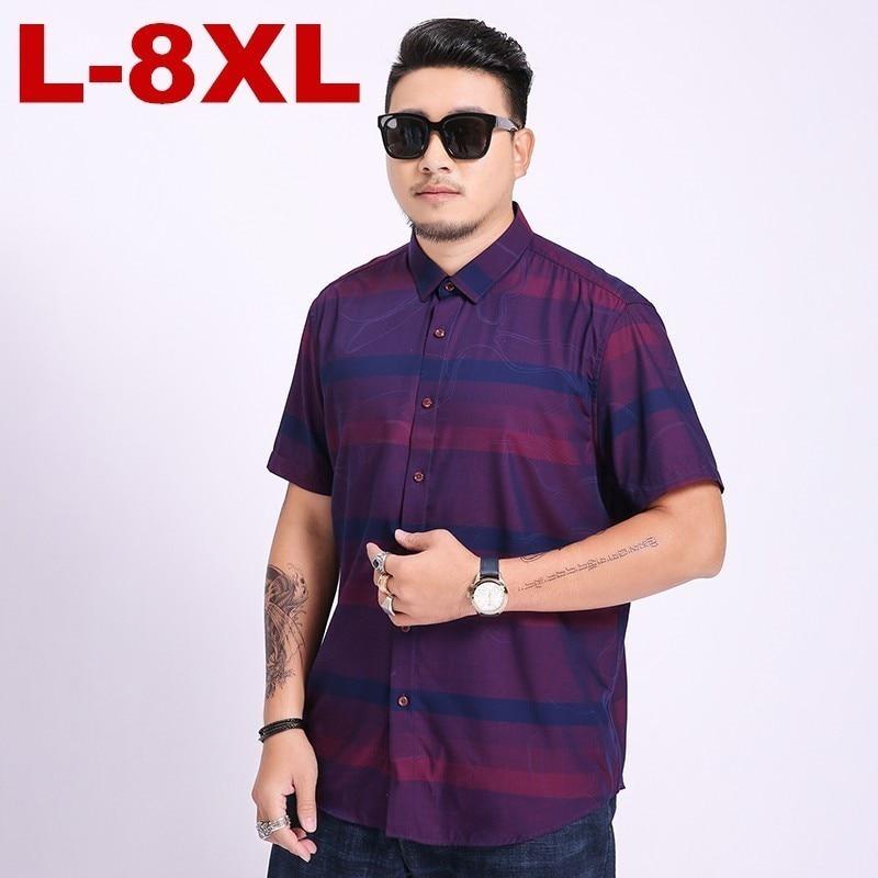 8xl  Plus Brand  New Cotton Linen Summer Slim Fit Casual Shirts Short Sleeve Striped Shirt Social Men Dress Shirts Chemise Homme