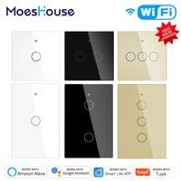 Moeshouse WiFi 스마트 라이트 터치 스위치 RF433 스마트 라이프/Tuya App 제어, Alexa Google 홈 음성 제어 EU US 2/3 Way