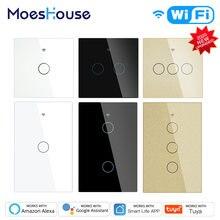 Moeshouse WiFi Smart Licht Touch Schalter RF433 Smart Leben/Tuya App Control, alexa Google Startseite Voice Control EU UNS 2/3 Weg