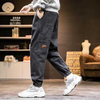 Mens jeans spring autumn winter trend casual trousers Korean tide brand drawstring ankle pants Brand