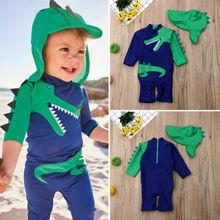 UK/детский летний пляжный купальный костюм с динозавром для маленьких мальчиков, купальный костюм, комплект из трусов и шапочки