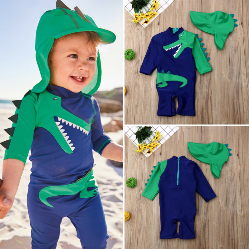 UK Baby Kids Boy Dinosaur Summer Beach Swimwear Swimsuit Swimming Costume Trunks+Cap Set