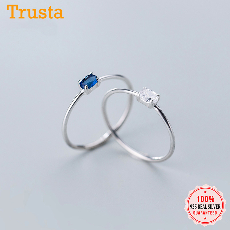 Trustdavis Minimalist 925 Sterling Silver Sweet Geometric Ellipse Dazzling CZ Finger Ring For Women S925 Ring Jewelry Gift DA967