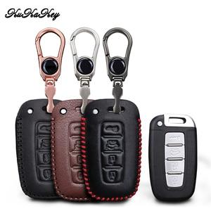 Image 1 - Etui clés de voiture en cuir pour Hyundai Long mouvement IX35 Sonata 8 pour Kia Chi Ran K2 Furui Di k5 4 boutons coque de clé à distance