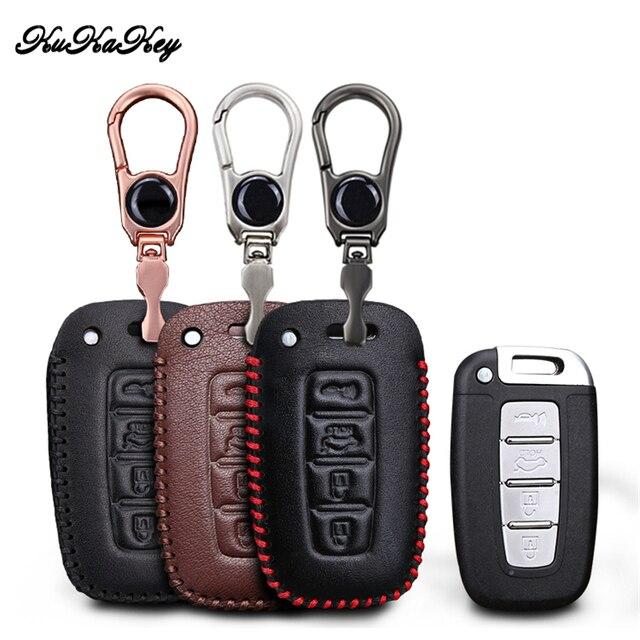 Etui clés de voiture en cuir pour Hyundai Long mouvement IX35 Sonata 8 pour Kia Chi Ran K2 Furui Di k5 4 boutons coque de clé à distance
