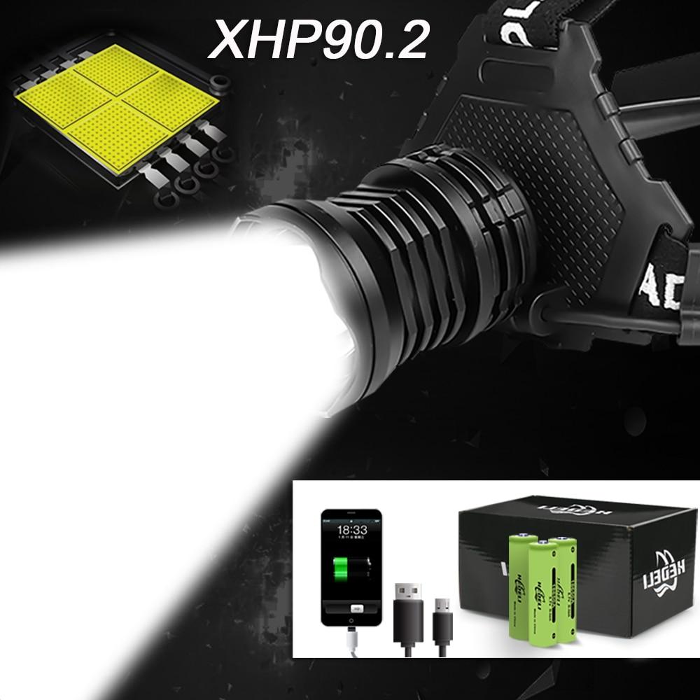 300000 LM XHP90.2 LED Headlight XHP90 High Power LED Head Lamp 36W Usb 18650 Rechargeable XHP70 Head Light XHP50.2 Zoom Headlamp