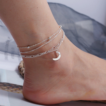 Bohopan 4Pcs/Set Simple Metal Moon Anklet Silver Color Multi-layer Foot Ankles Bracelets Geometric Alloy Beach Jewelry 2019 New