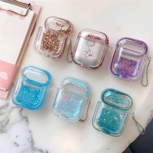 Drift Sand Glitter Crystal Transparent Cover for Airpods Case Liquid Glitter Stars Case for Air pods  Earphone Protective Cover