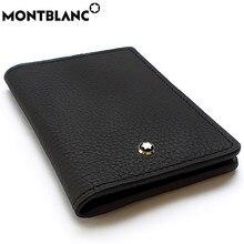 Carteira de couro genuíno luxo de alta qualidade titular do cartão de dinheiro bolsa bolso para mont blanc