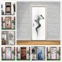 Aufkleber auf die Tür Home Decor Mädchen Silhouette Wand Abziehbilder Self Adhesive Vinyl Abnehmbare Wandbild Poster Tür Tapete deurposter-in Türaufkleber aus Heim und Garten bei