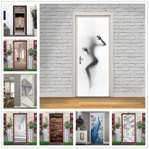 Stickers on the Door Home Decor Girl Silhouette Wall Decals Self Adhesive Vinyl Removable Mural Poster Door Wallpaper deurposter(China)