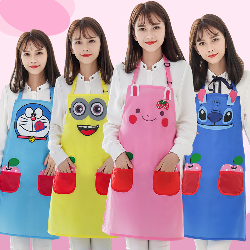 Korean style Fashion Household Oil Resistant Cute Cartoon Kitchen Apron Swimming Pool Work Clothes Bath Waterproof Apron Women's|Oversleeves| |  - title=