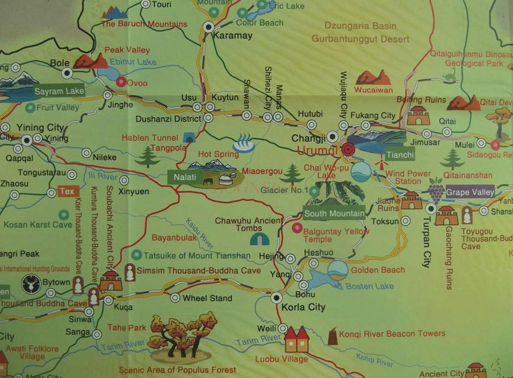 Xinjiang Tourist Route Map (English Version)