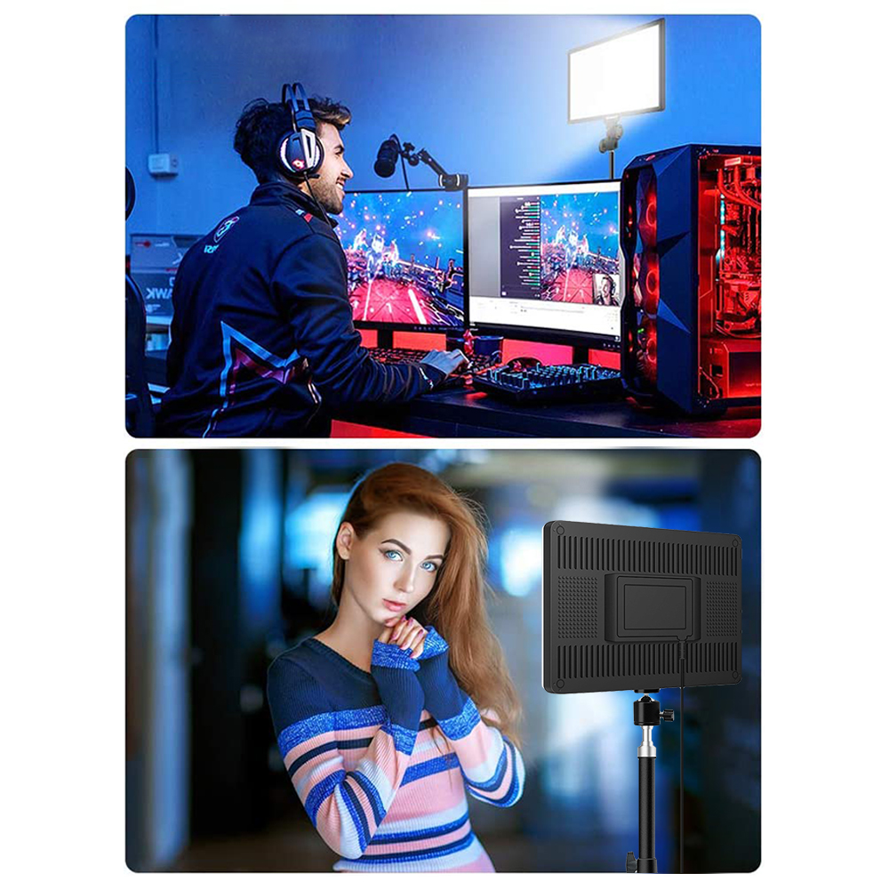 H61d55faf9e6c4b8b9dc9733fc326fed60 14inch 10inch LED Video Lighting Panel EU Plug 3200K-6000K Photography Lighting Remote Control For Live Stream Photo Studio Lamp