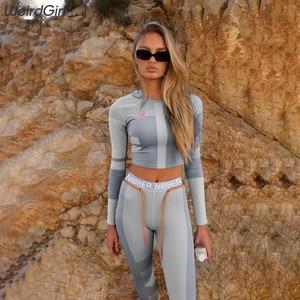 Image 5 - נשים סטי 2 חתיכות כושר הדפסת אימונית מלא tshirts אלסטי ארוך גבוהה מותן סקיני חותלות מקרית ספורטוויר חדש
